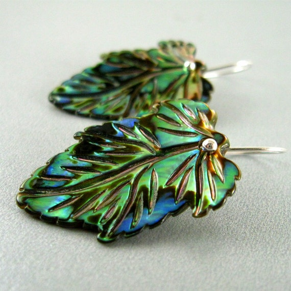 Reserved- Carved Abalone  Sterling Silver Earrings