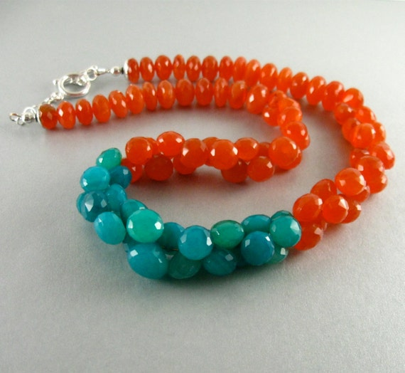 Reserved For Julie-Turquoise Chalcedony and Orange Carnelian Gemstone Bracelet