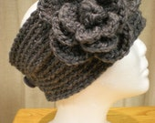 Charcoal Gray Crocheted Headband/Headwrap with Flower and Free Shipping