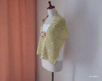 Organic Cotton Flower Motifs Stole Scarf Yellow Green