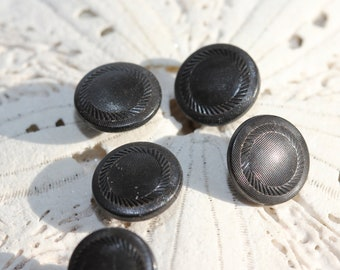Carved Black Wooden tunnel shank Victorian Shoe Buttons (5)