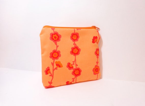 Small Zipper Pouch Small Wallet Small Cosmetic Pouch Floral Orange