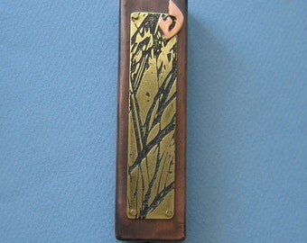 Mezuzah in Etched Brass and Copper, Tree of Life