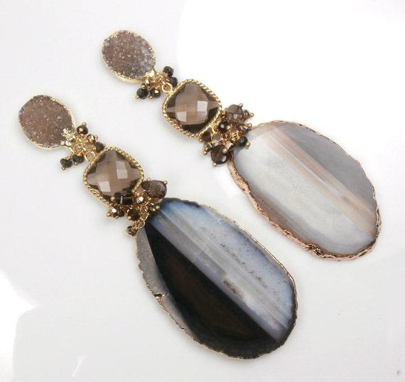 ON SALE 35% off - Agate Slice Druzy Earrings Long Dangle Earrings Brown Cream Geode Gemstone Luxury Statement Fall Fashion - Lorraine