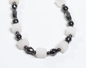 White glass bead accents on a Magnetic Necklace OOAK By Happy and Healthy