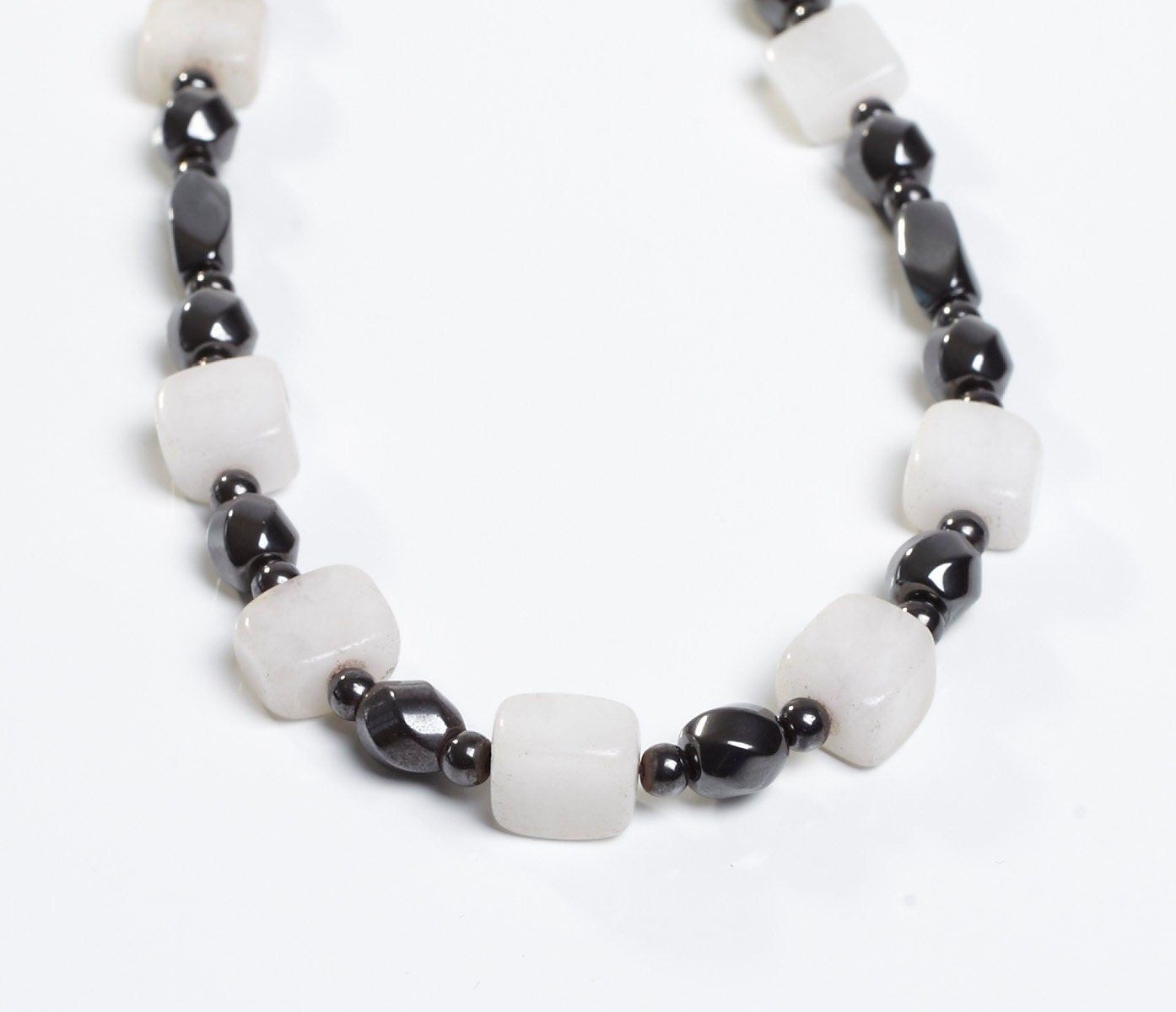 white glass bead accents on a magnetic necklace ooak by happy