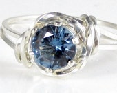 Lab Blue Zircon Gemstone Ring Sterling Silver Jewelry Any Size