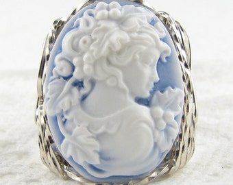 Grecian Goddess Blue Cameo Ring Sterling Silver Custom Jewelry