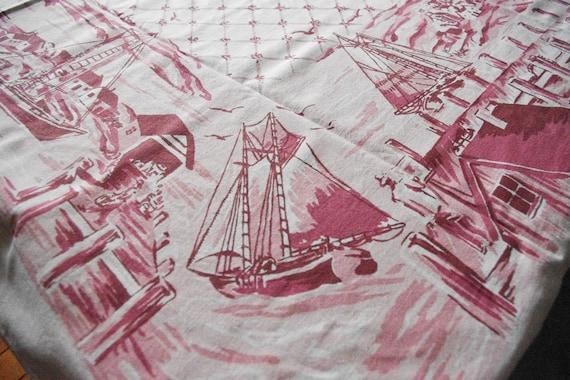 1940's Startex Fishing Village Tablecloth