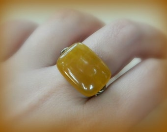 Agate Gemstone Ring To Order - Citrine, Yellow Agate, Amber, Cinnamon, Toast, Fire, Sun, Copper, Fall, Night, Autumn, Tangelo, Rustic, Mango