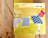 mixed media on cradled artist panel - laundry quilt no. 7