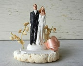 Vintage Chalkware Wedding Cake Topper Bride & Groom