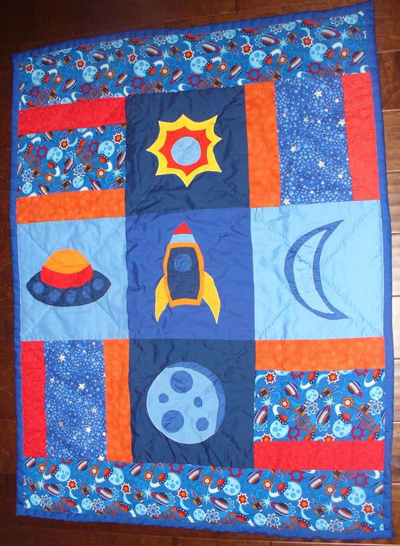Outer space nursery quilt planets moon rocket by for Space fabric quilt