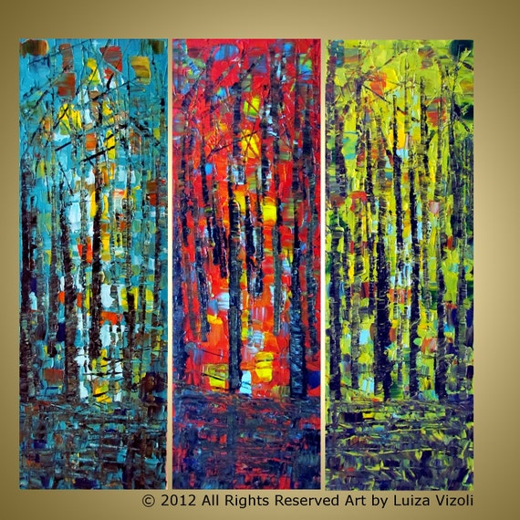 Original Large Landscape Forest Abstract Painting SUMMER COLORS Wall Decor Fine Art by Luiza Vizoli
