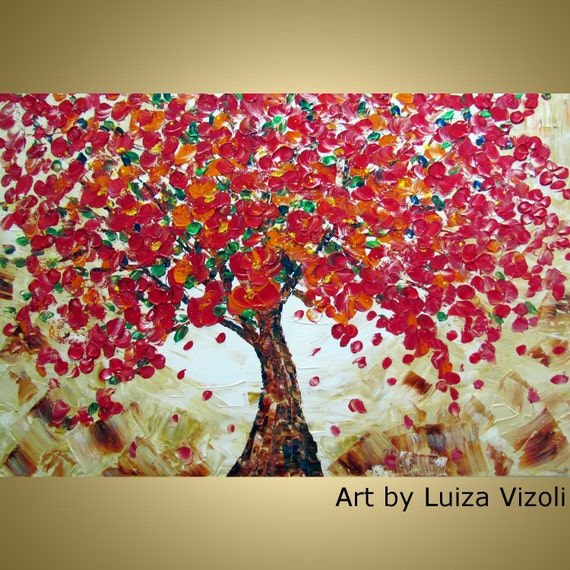 Original Oil Painting Modern Impressionist Palette Impasto Textured Artwork RED CHERRY TREE Fine Art by Luiza Vizoli