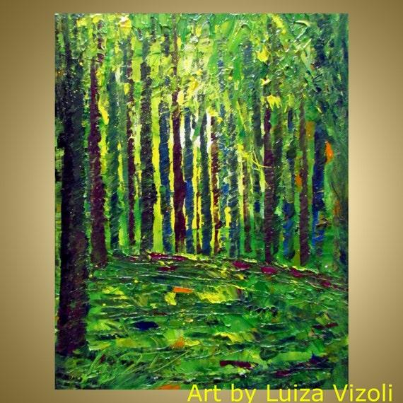 Original Oil Painting Trees LandscapeSpring Forest Palette Impasto Art by Luiza Vizoli