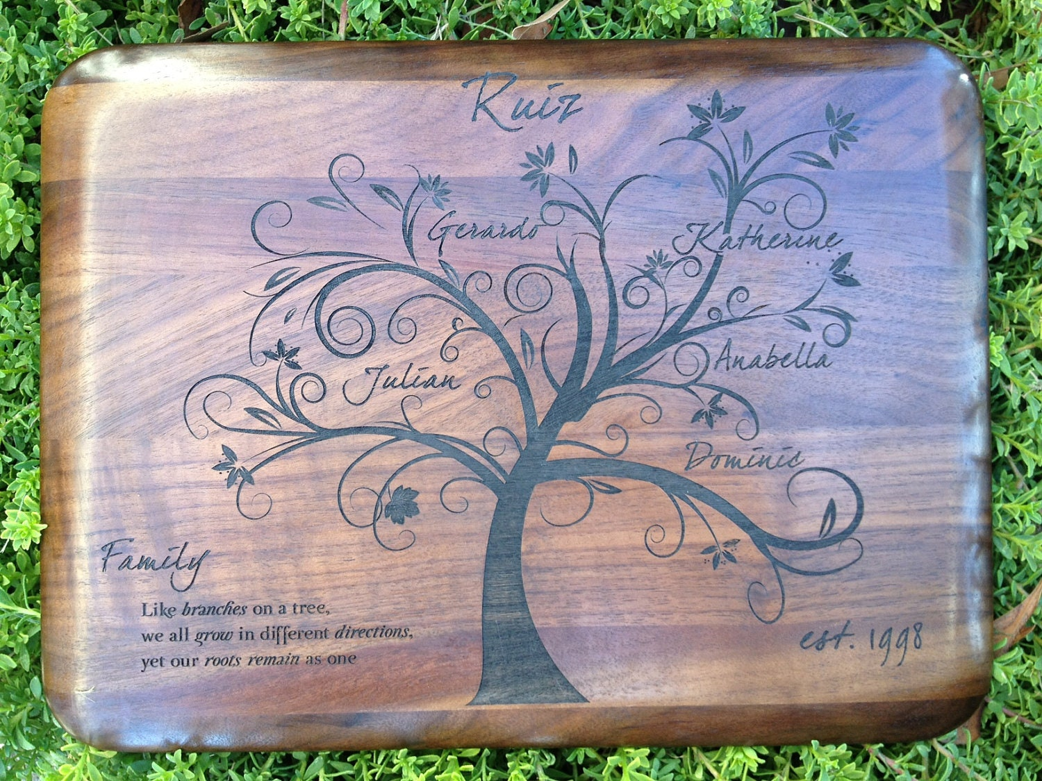 Personalized Engraved Walnut Wood Family Tree Keepsake Plaque