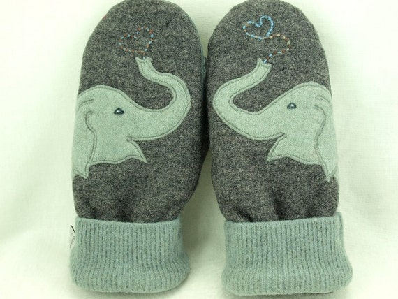 Wool Sweater Mittens Recycled Elephant Mittens Grey Light Turquoise Applique Fleece Lined Leather Palm Eco Friendly  Up Cycled  Size M/L