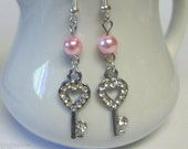 Silver Rhinestone Keys and Pink Pearl Dangle Earrings