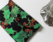 Holiday gift card holder - mini fabric wallet - Holly leaves and Christmas berries
