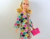 Francie Dress 60s Style Mod Mini Pink Multi Color for Vintage or Repro Francie Barbie Cousin Handmade