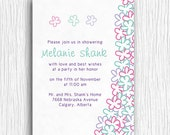 Bridal Shower Invitation - Customized Printable - Purple, Teal and Pink Flowers