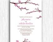 Wedding Invite - Pink Cherry Blossoms Customizable Printable