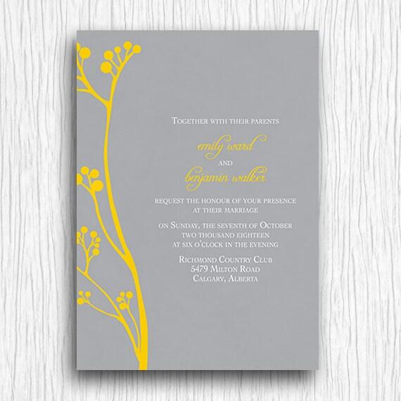Printable Wedding Invitation - Yellow and Grey Flowers