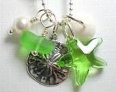 Seaglass Jewelry  Beach Glass Puka and Starfish Necklace