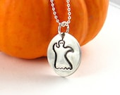 Silver Ghost Necklace Silver Halloween Necklace Halloween Costume PMC Fine Silver Artisan Pendant Hand Stamped Silver