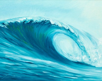 "GICLEE reproduction on 8 1/2 x 11"" fine art PAPER - Curling Wave series 6 (wave, barrel, tube)"