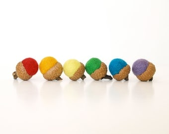 Rainbow Felted Acorns, Fun Colorful & Bright Rustic Home Decor - 6