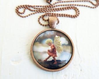 Fairy Necklace Children, Flower Fairy jewelry pendant adults, neutral white orange feminine Magic Christmas Gift