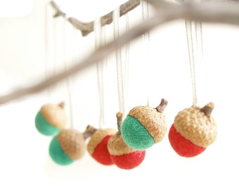 Acorn Christmas Ornaments, Needle Felted Natural Decorations. Red & Green Rustic Xmas - 10
