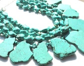 Sea Blue Green Turquoise Statement Handmade Necklace with earrings
