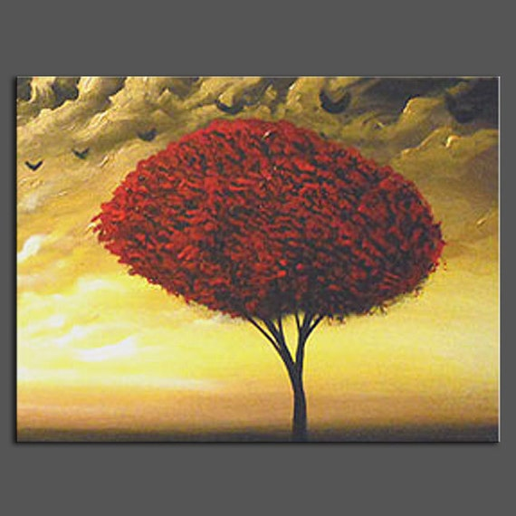 art original painting abstract tree painting cloud painting gold Original Painting landscape abstract 16 x 20