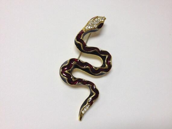awesome vintage 80s enamel and rhinestone snake brooch