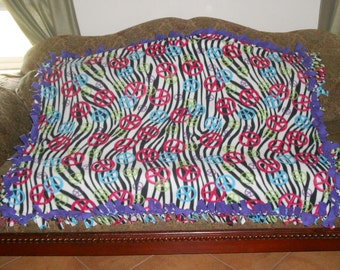Black White Zebra Stripes Blue Peace Signs Purple Back Fleece Tie Blanket No Sew Fleece Blanket Fleece Throw 48x60 Approximate size