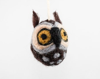Felted Owl Ornament (Brown)