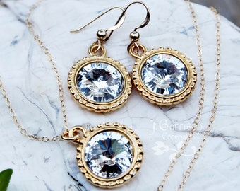 Clear Swarovski rivoli crystal & gold necklace and earring set - delicate 14k gold filled chain, beautiful bling
