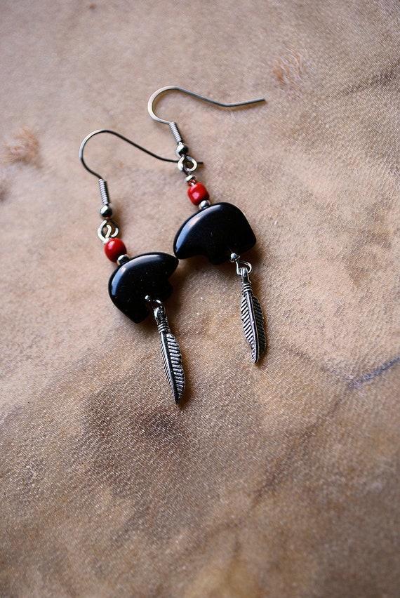 Black Obsidian Bear Totem Feather Dangle Earring