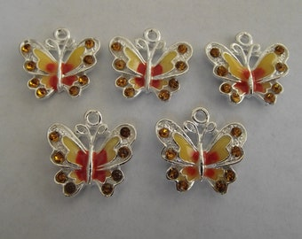 Yellow Enamel Butterfly Charms- five charms- silver charms