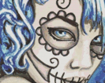 Small - Modern cross stitch by Shayne of the Dead 'The Look' - Sugar skull cross stitch kit