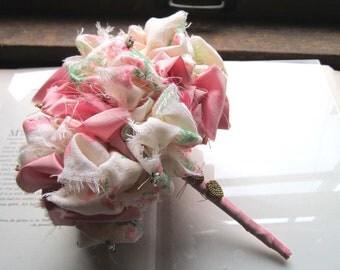 Vintage Fabric  Bouquet * Vintage Brides * OOAK Wedding Bouquets * Fabric Wedding Flowers * Bridesmaids and Brides * Pink Green Cream
