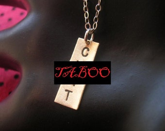C .NT Necklace, Brass Rectangle, Small Charm, Small Square Charm, Rectangle Necklace, Slut, Whore, Mature