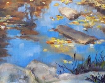 Calm River, 6x6 Original Oil Daily Painting, River in North Carolina in Autumn