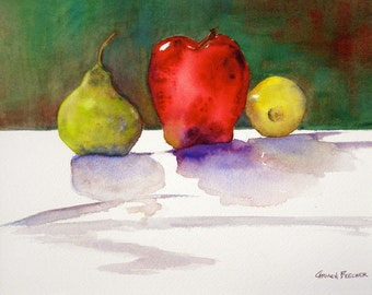 Apple and Friends, 9.75 x 7.75 Original Watercolor Painting