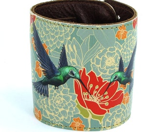 Leather cuff, wallet cuff, wallet wristband - Hummingbirds in floral bliss