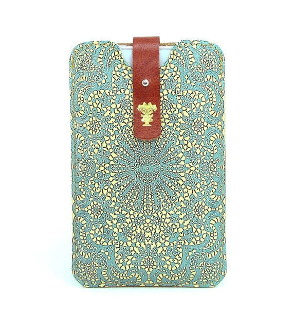 Leather iPhone (All) iTouch (All) case HTC -  Teal Double Lace