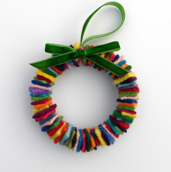 Rescued Wool Wreath Ornament - Skinny Multi with Green Velvet Ribbon - recycled  wool wreath by alicia todd
